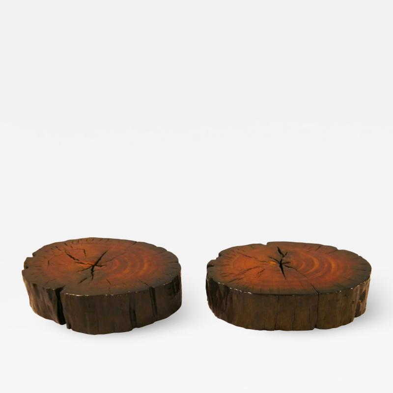 PAIR RED ROUND COFFEE TABLE