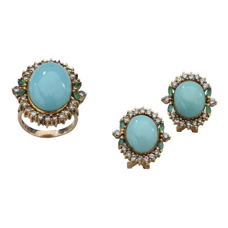 PERSIAN TURQUOISE DIAMOND EMERALD EARRINGS RING