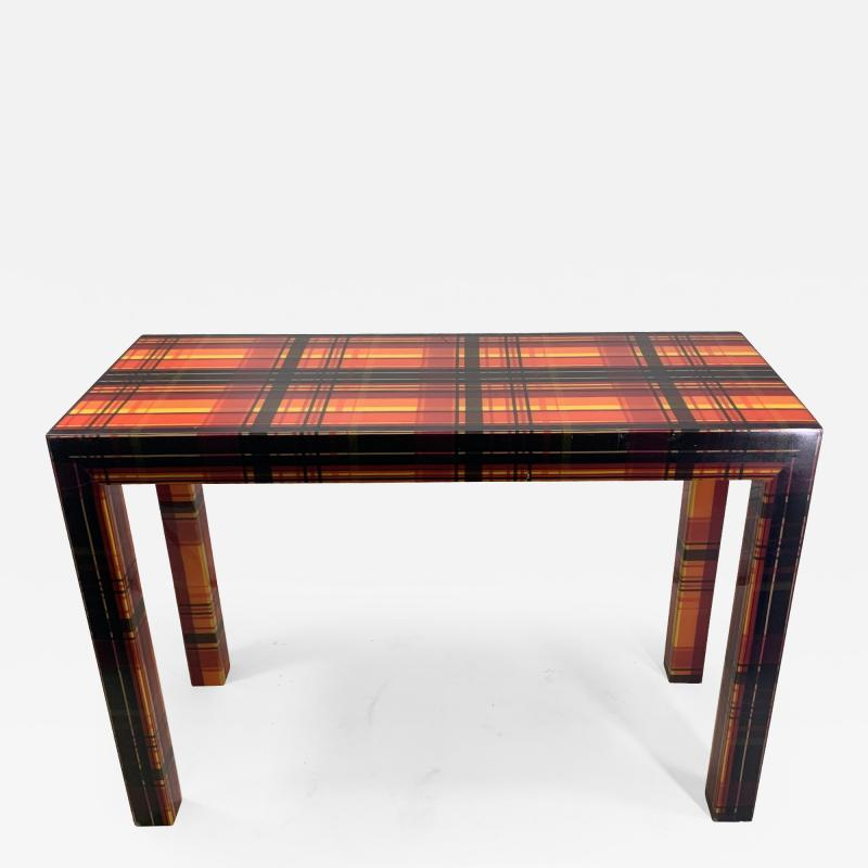 POP ART RESIN LAMINATED COLORFUL PLAID CONSOLE TABLE