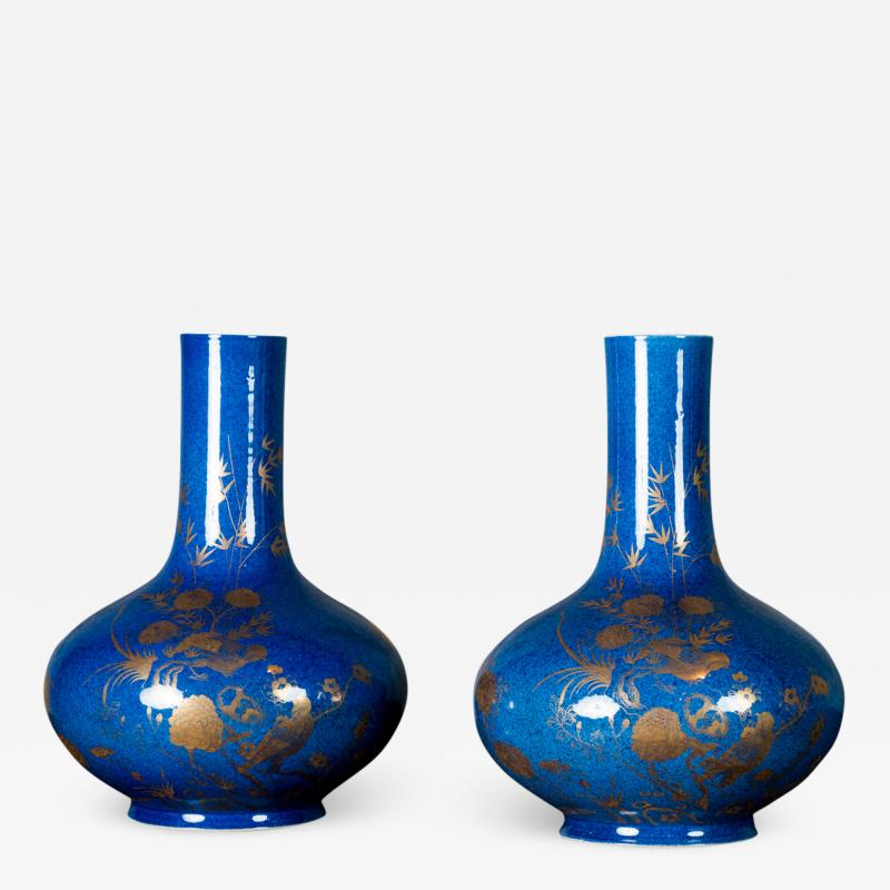 POWDER BLUE CHINESE VASES
