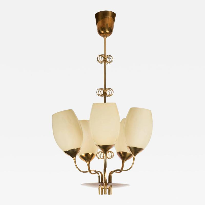 Paavo Tynell 1950s Paavo Tynell Five Glass Chandelier for Taito Oy