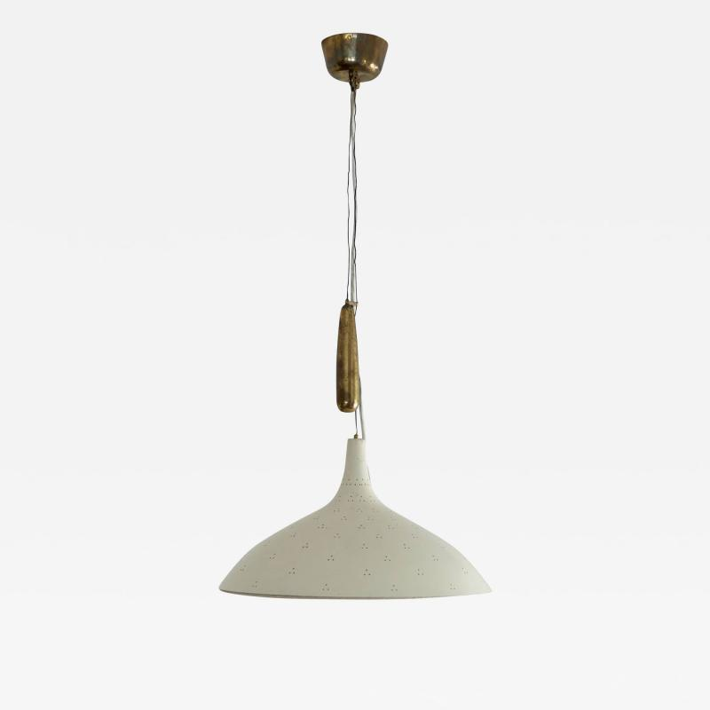 Paavo Tynell Paavo Tynell Counter Weight Chandelier in Brass and White in Original Condition