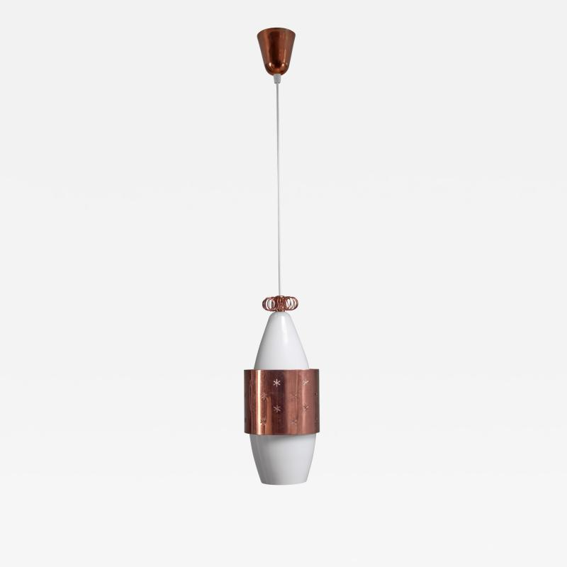 Paavo Tynell Paavo Tynell K2 12 Opaline Glass and Copper Pendant for Idman