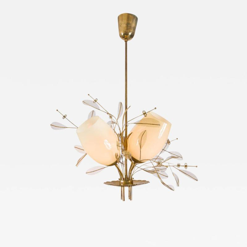 Paavo Tynell Paavo Tynell Model 9029 4 Brass Glass Floral Chandelier for Taito Oy