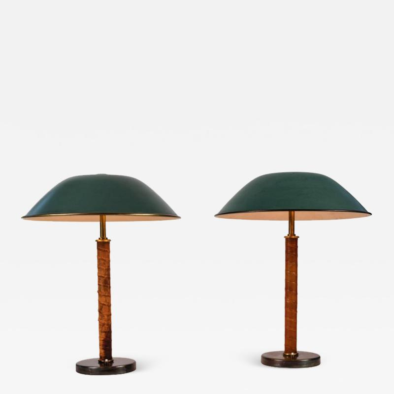 Paavo Tynell Pair of 1940s Finnish Brass and Leather Table Lamps