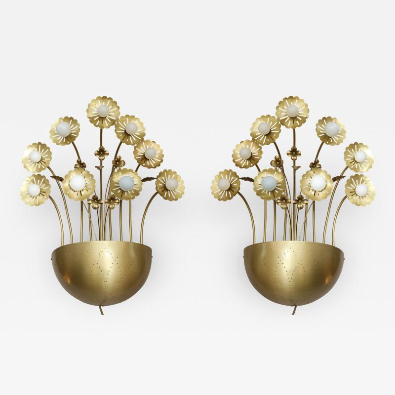 Paavo Tynell Pair of Floral 9 Light Sconces in the Style of Paavo Tynell