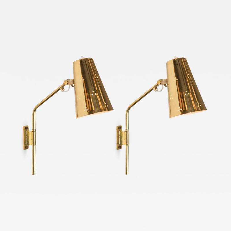 Paavo Tynell Rare Pair of 1950s Paavo Tynell Perforated Brass Wall Lights