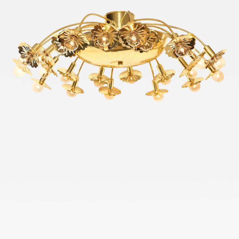 Paavo Tynell Style 24 Light Pierced Brass Ceiling Fixture