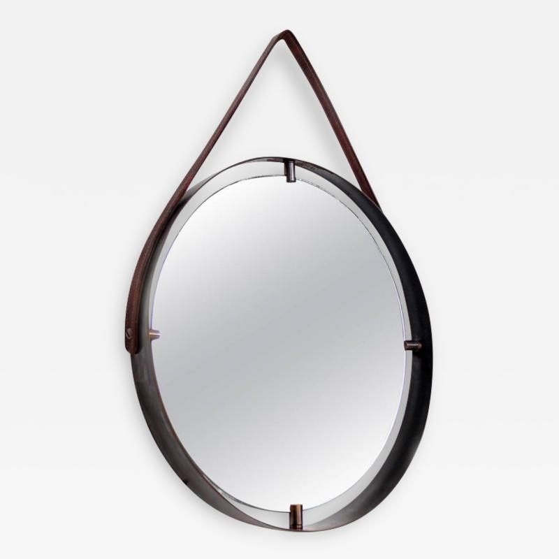 Pablo Romo Contemporary Round Wall Mirror in Brass and Leather Adnet Style