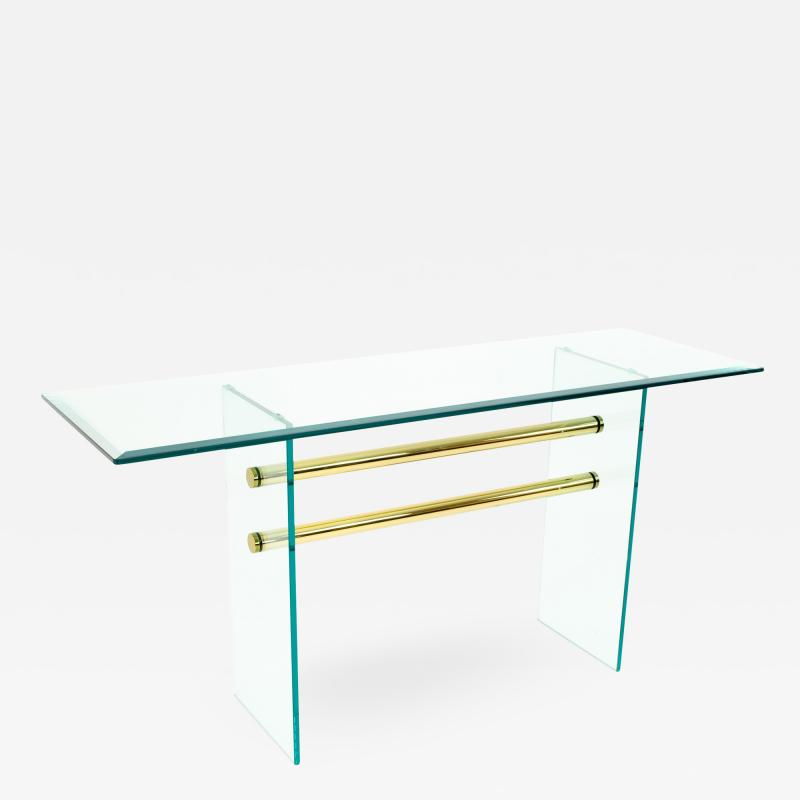Pace Mid Century Brass and Glass Coffee Sofa Table
