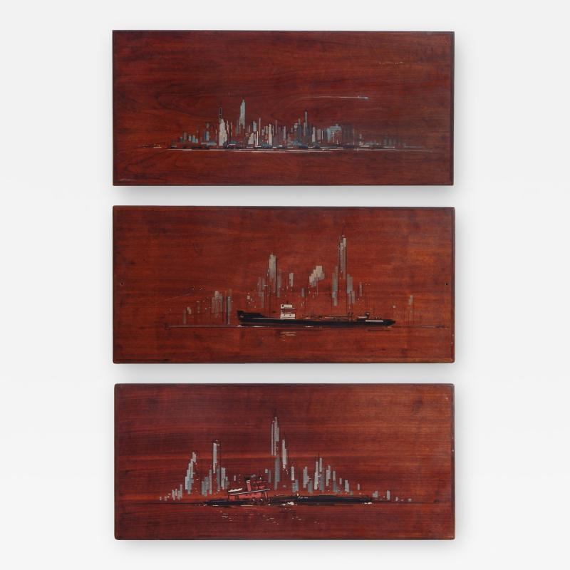 Painted Panels of lower Manhattan from the old downtown NYAC Club