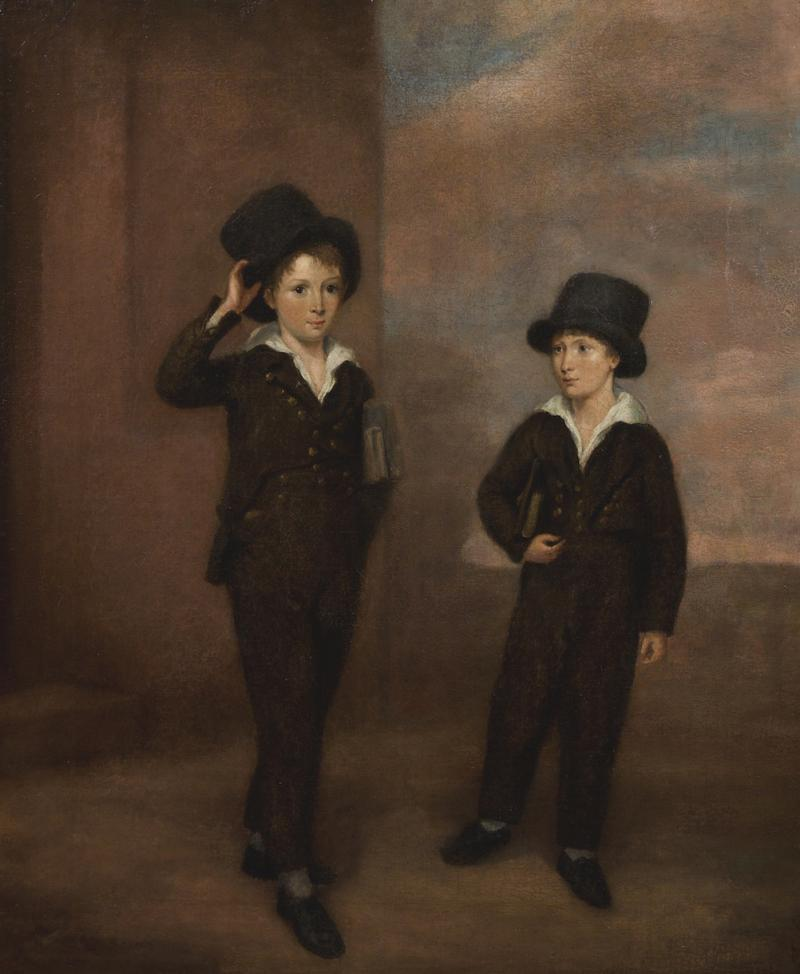 Painting Of Two Schoolboys Possibly Attending Eton College