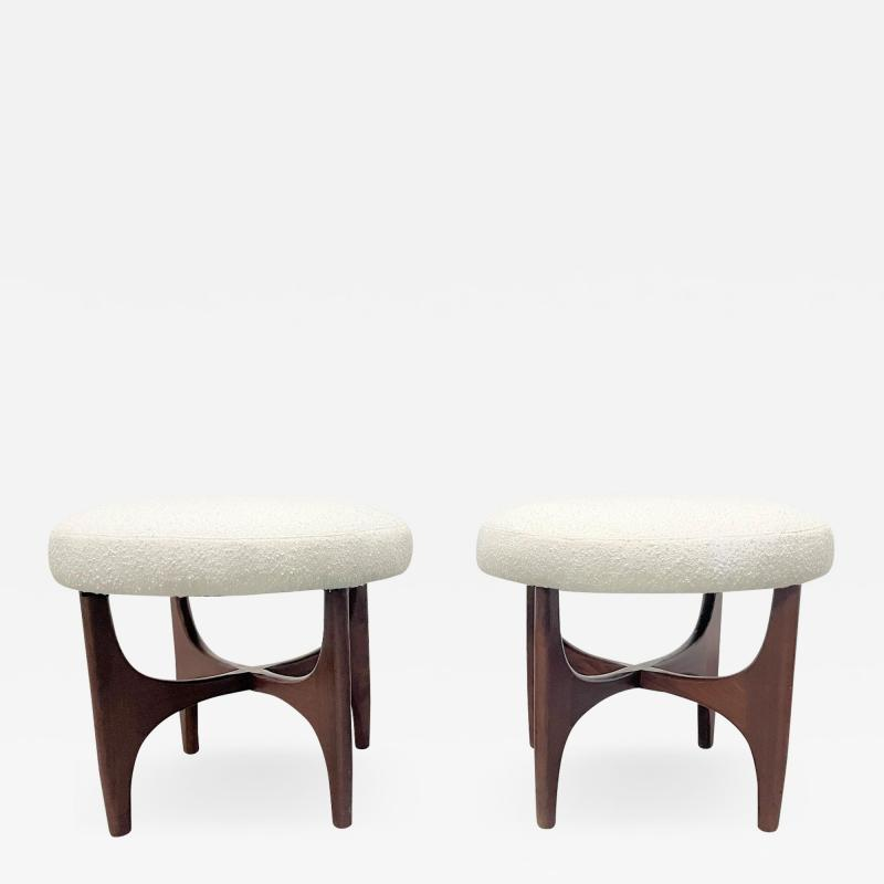 Pair 1960s Solid Walnut Stools in Boucle Fabric