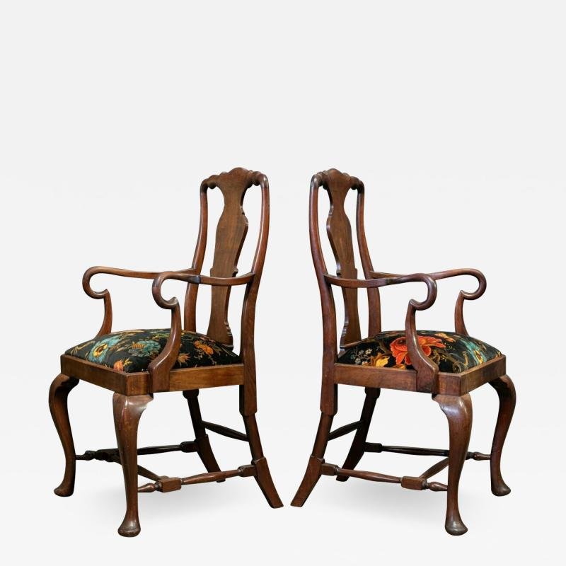 Pair 19thC Large Mahogany Carver Elbow Chairs Reupholstered