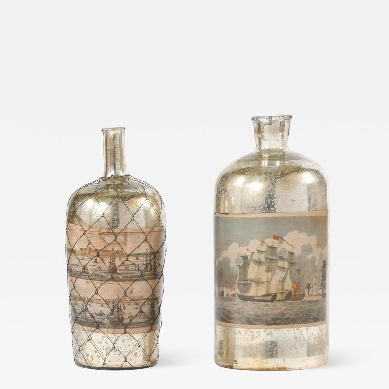 Pair 20th Century Mercury Glass Decorative Pieces