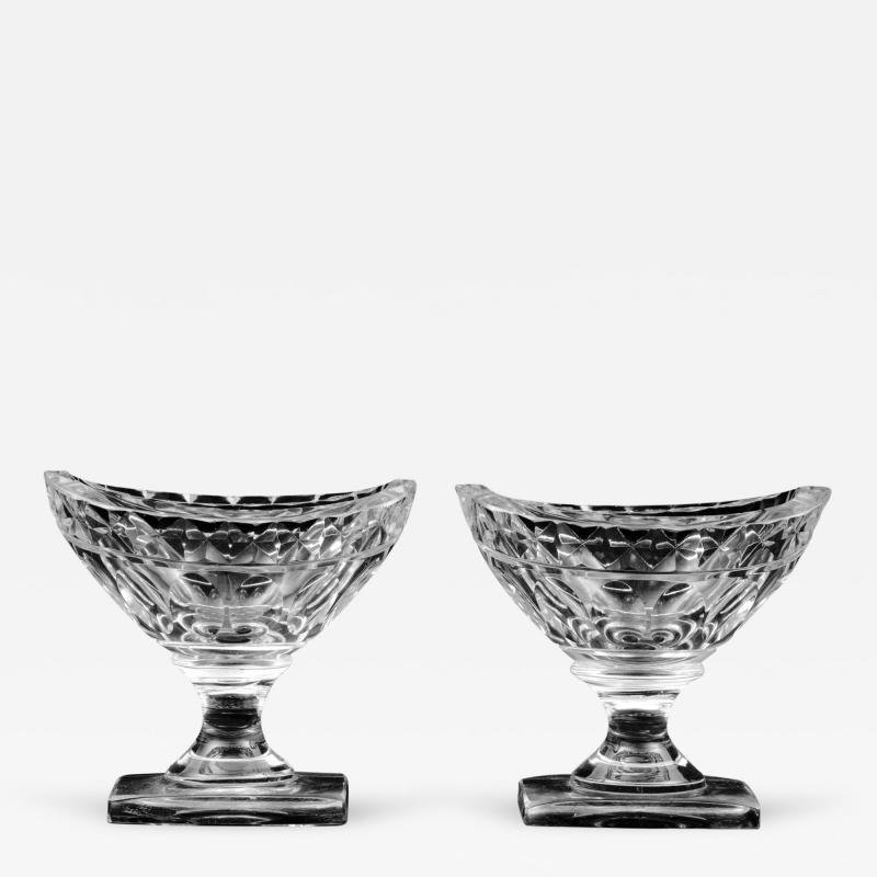 Pair American Cut Glass Open Salts Circa 1800