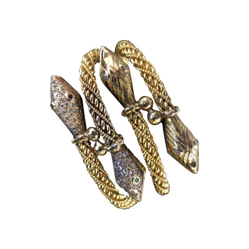 Pair Antique 22k 24K gold Rose cut Diamond Snake bracelets emerald and diamond