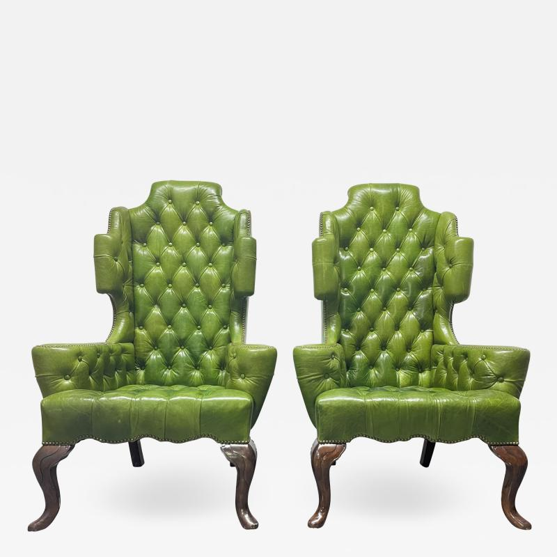 Pair Antique Style Tufted Leather Wingback Chairs