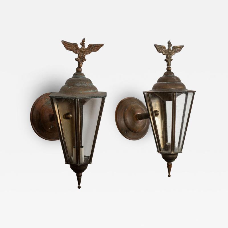 Pair Austrian Eagle Mounted Brass Wall Lanterns