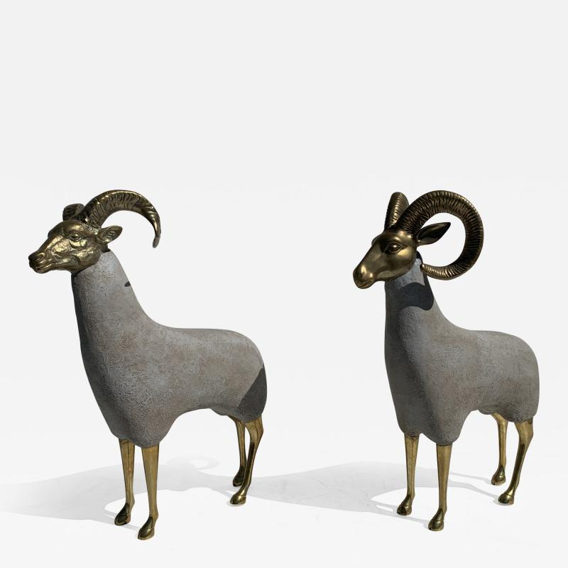 Pair Brass Sheep Ram Sculptures