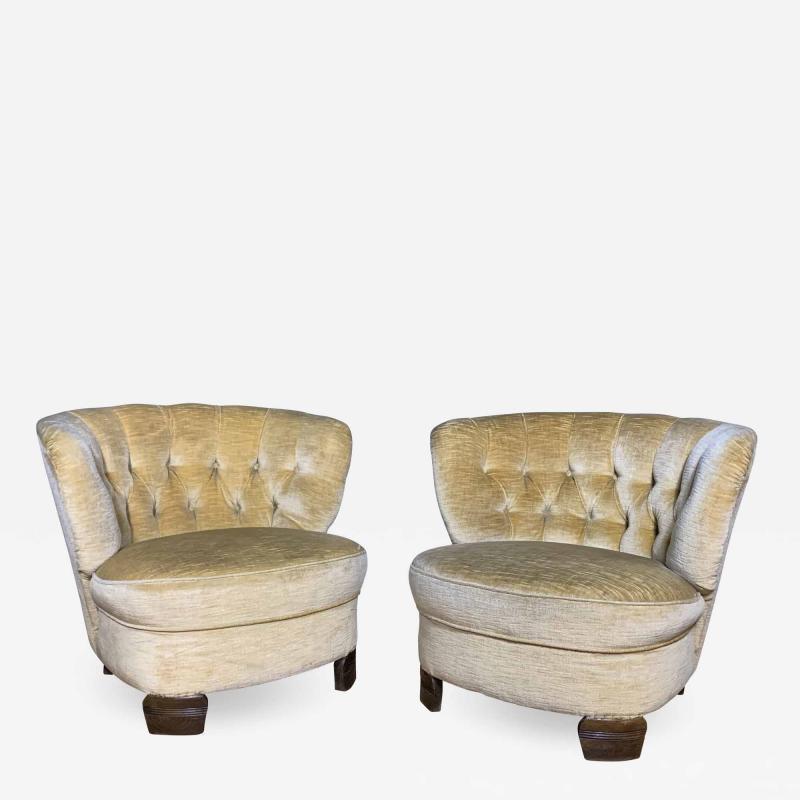 Pair C1940 Scandinavian Low Slipper Chairs Yellow Velvet