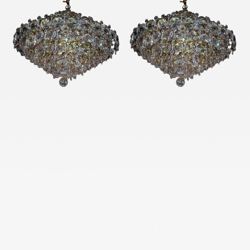 Pair Crystal Modernist Chandelier