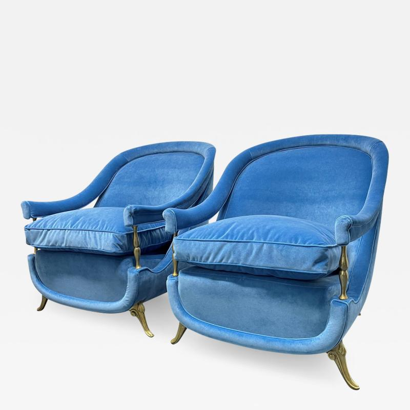 Pair French 1950s Brass and Velvet Lounge Chairs