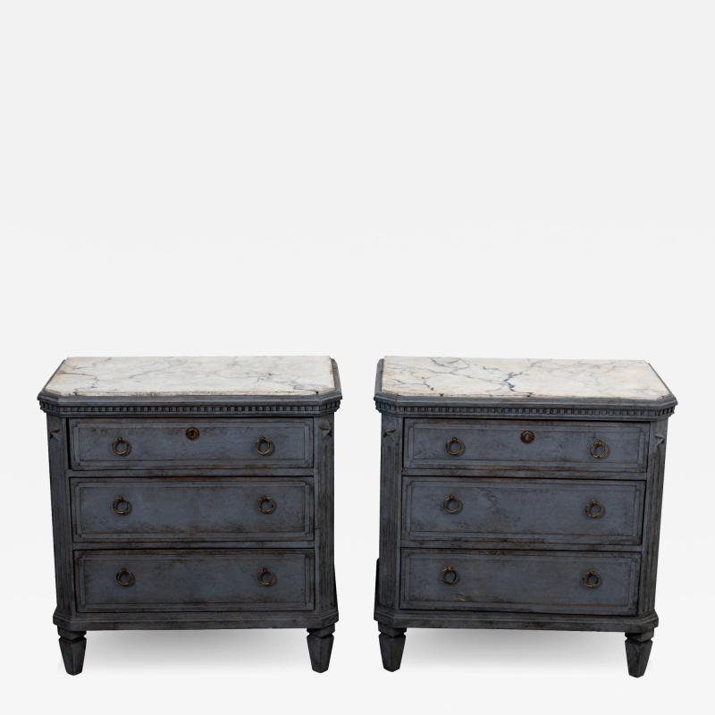 Pair Gustavian Style Chests of Drawers