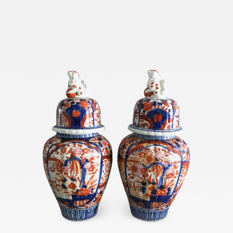 Pair Imari Ribbed Vases with Foo Dog Lids
