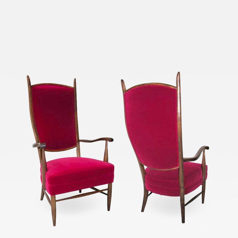 Pair Italian grand scale armchairs