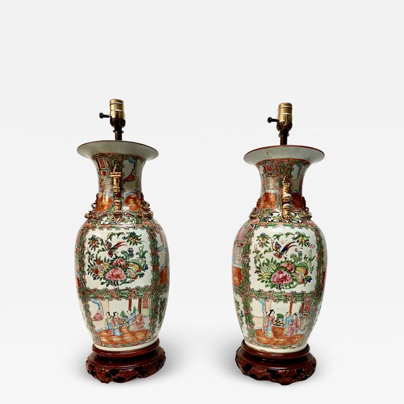 Pair Large Rose Canton Lamps Late Ching