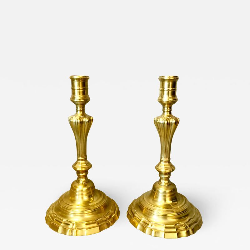 Pair Louis XV Brass Candlesticks 18th Century