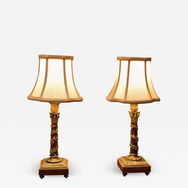 Pair Louis XVI Style Bronze Marble Candlestick Lamps Circa 1880 France