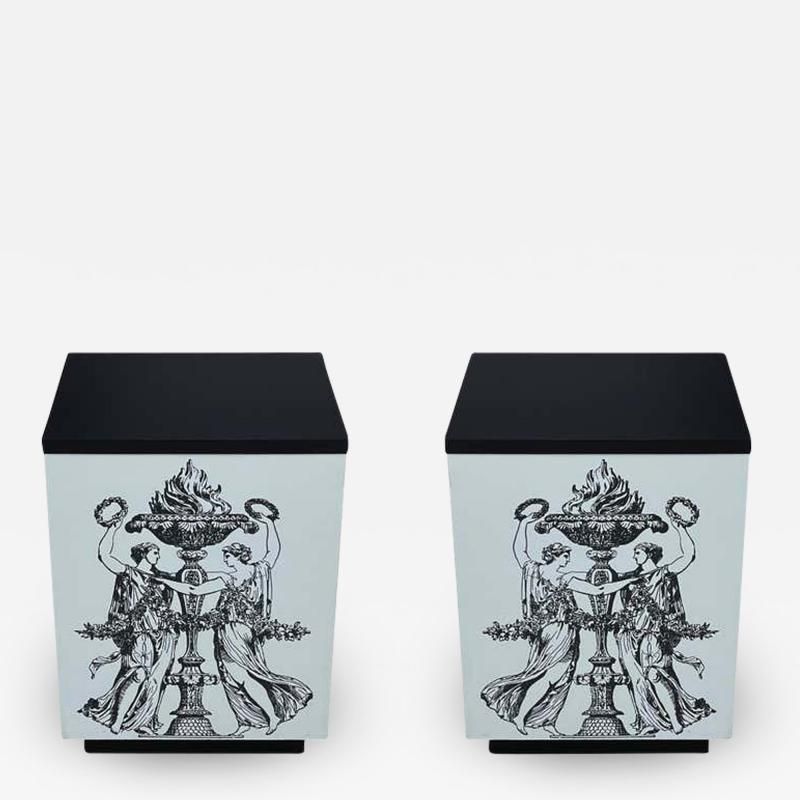 Pair Mid Century Italian Modern Storage Cube End Tables after Piero Fornasetti