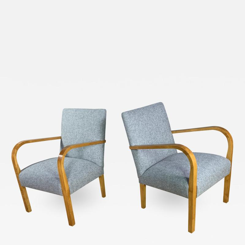 Pair Mid Century Lacquered Birch and Wool Armchairs