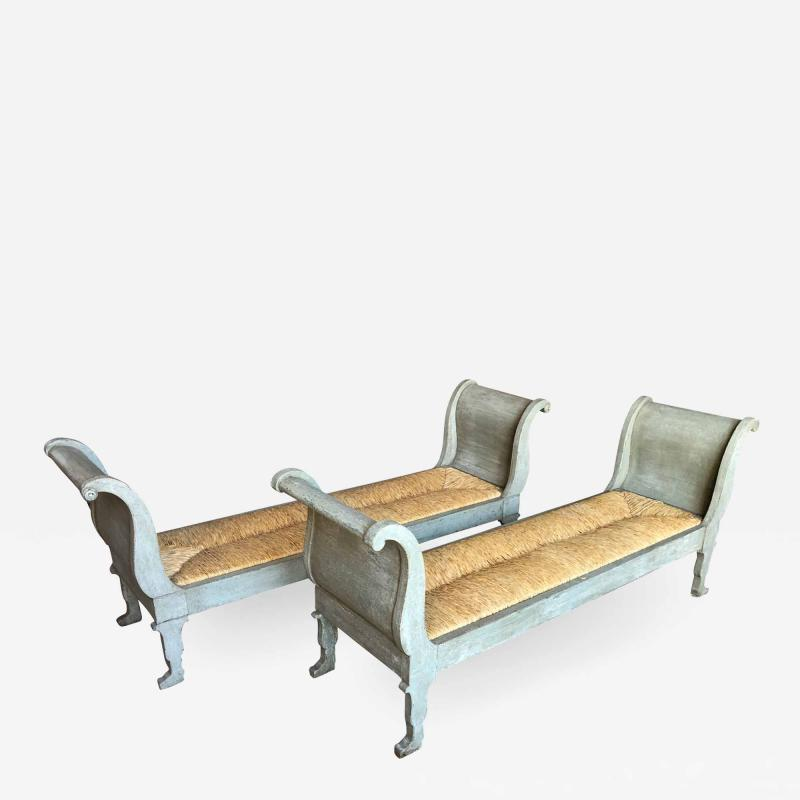 Pair Of 19th Century Italian Banquettes In Painted Wood