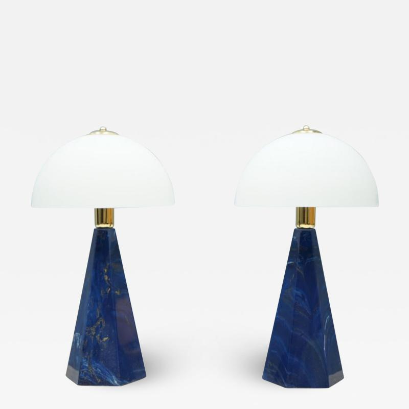 Pair Of Blue Marble Table Lamps with Glass Shades Italy 1970s