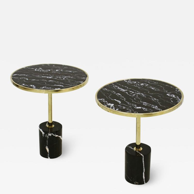 Pair Of Contemporary Marquina Marble Glass Brass Side Italian Tables