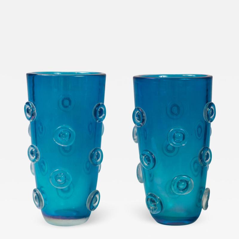 Pair Of Tall Murano Blown Irredescent Acquamarine Vases Contemporary