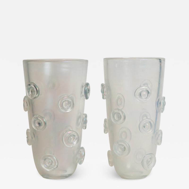 Pair Of Tall Murano Blown Irredescent Vases Contemporary