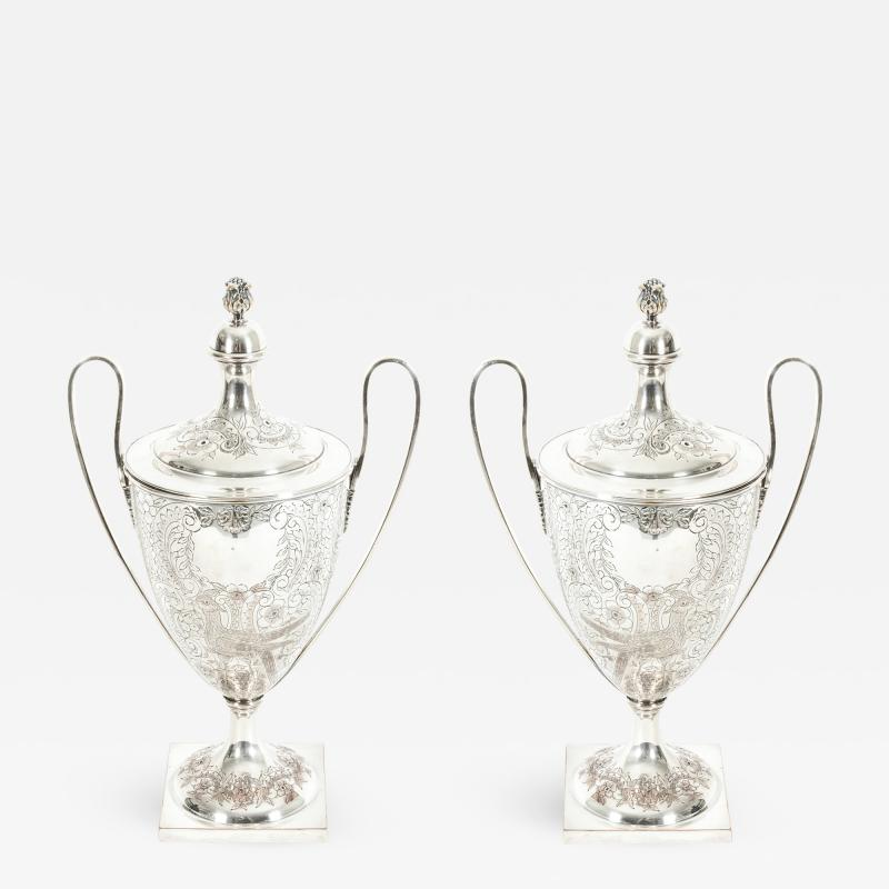 Pair Old English Plated Trophy Cup Urn