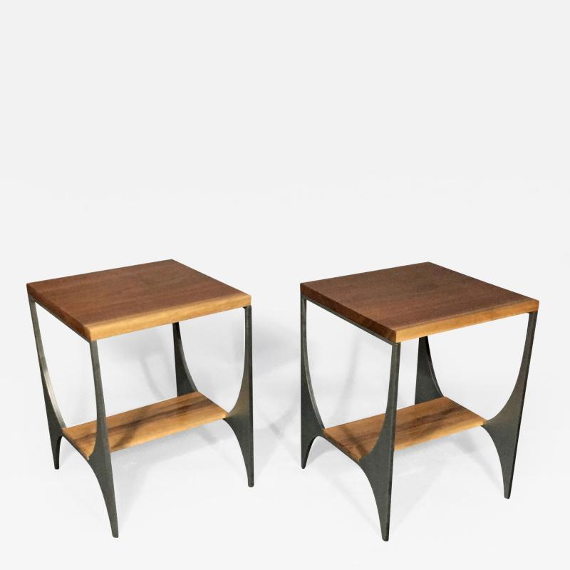 Pair Richard Velloso Curves of Grace Black Walnut Steels Side Tables