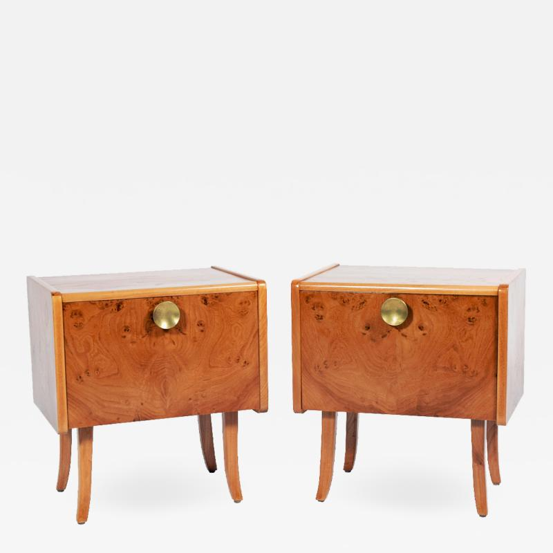 Pair Swedish Burl elm night stands 1950s