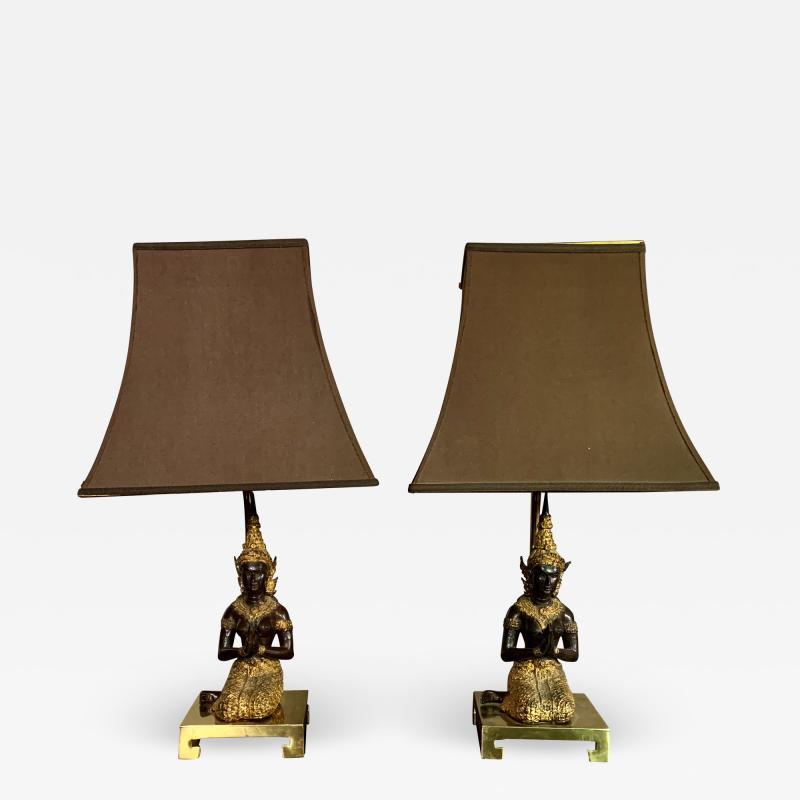 Pair Thai Thepphanom Angel Table Lamps Brass Base