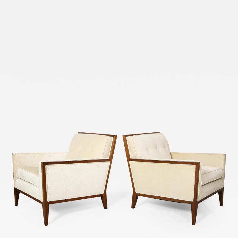 Pair Walnut Lounge Chairs