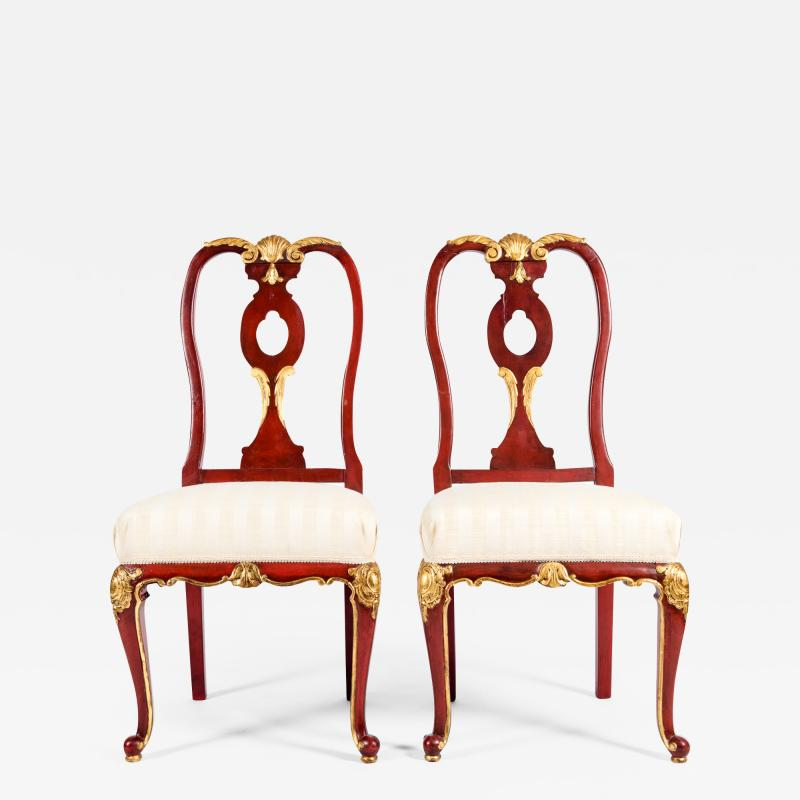 Pair Wood Framed Gilt Design Detail Side Chairs