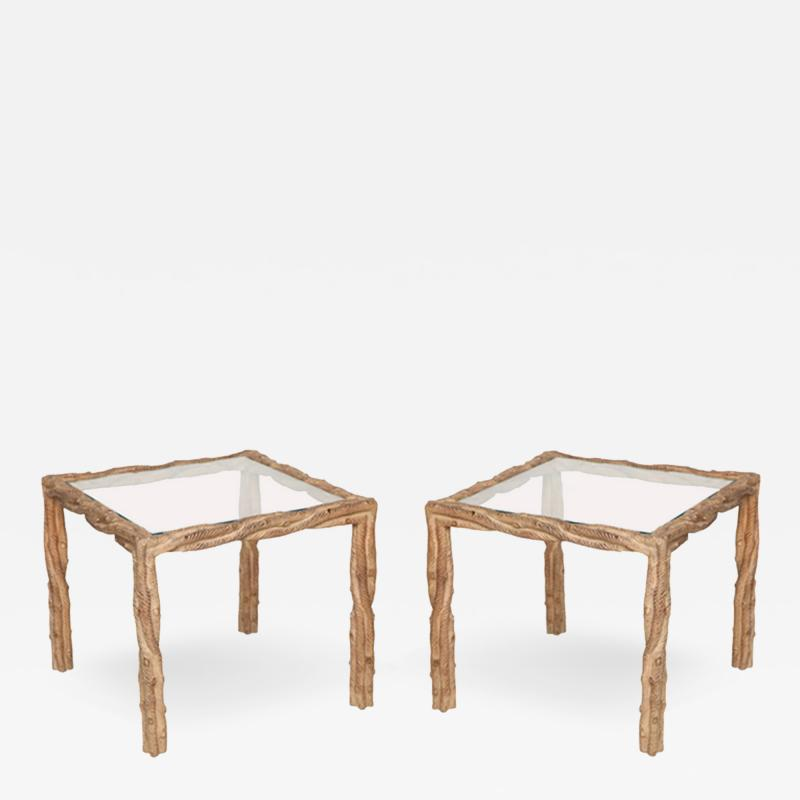 Pair mid century carved side tables