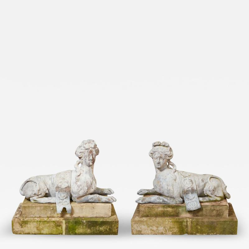 Pair of 18th Century French Lead Sphinxes