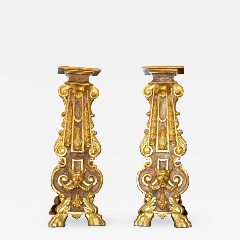 Pair of 18th Century Italian Giltwood Stands