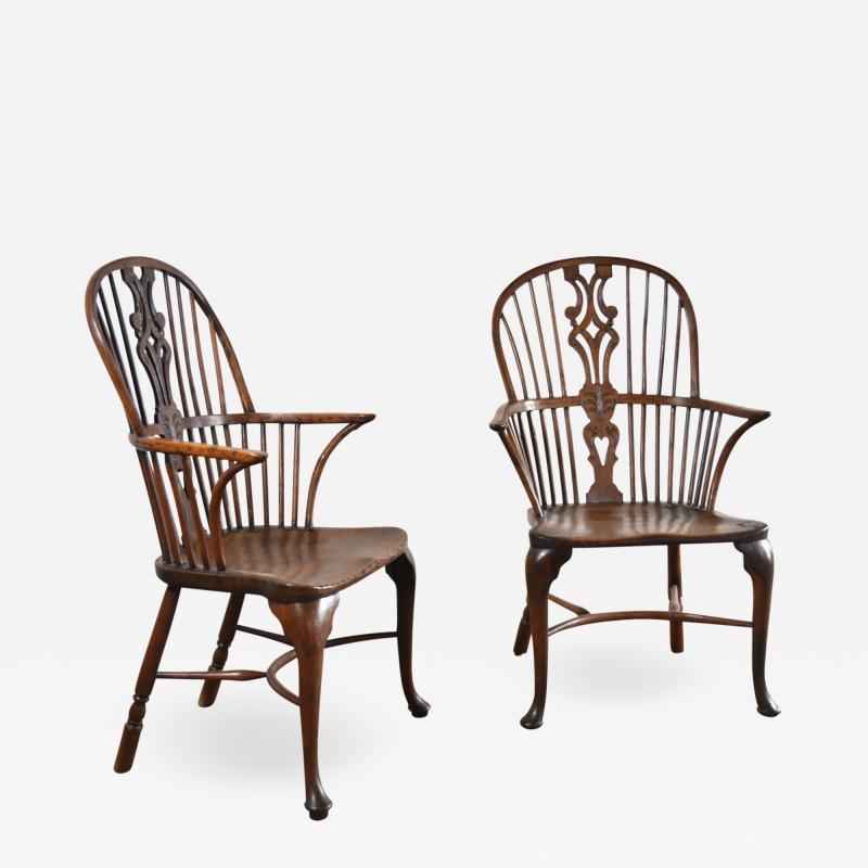 Pair of 18th century English George III Yew Wood Cabriole Leg Windsor Chairs